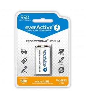 9V ličio baterija USB įkraunama 550mAh everActive  6F22 9V