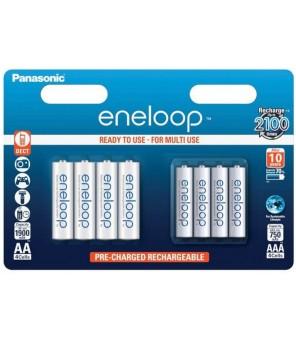 Įkraunamų baterijų rinkinys 4 x R6/AA + 4 x R03/AAA Panasonic Eneloop BK-KJMCCE44E 8BE