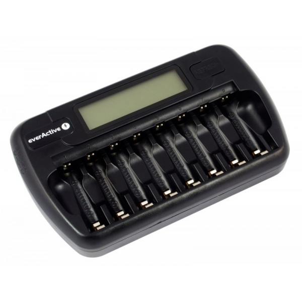 Baterijų kroviklis su LCD ekranu everActive 1-8 AA/AAA