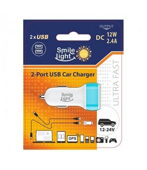 Automobilinis USB įkroviklis A/M 12V 2.4A Smile Light