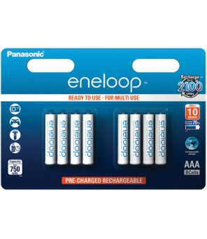Eneloop R03 AAA 750mAh BK-4MCCE/8BE 8vnt pakraunamos baterijos
