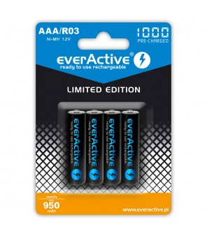 EverActive 1000mAh įkraunamos AAA baterijos, 4vnt
