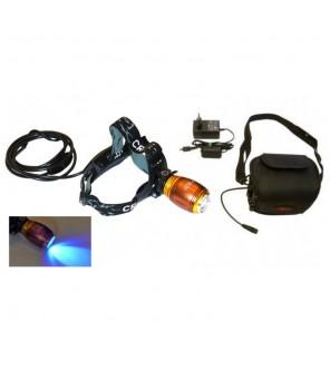 Galingas LED ultravioletinis žibintuvėlis ant galvos