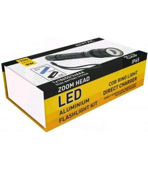 Įkraunamas aliuminis žibintuvėlis 8W 18650 700lm Zoom