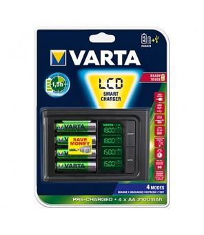 Išmanusis įkroviklis su 4vnt baterijomis AA 2100 mah VARTA LCD  57674