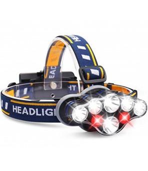 LED žibintuvėlis ant galvos 7 LED su raudona šviesa