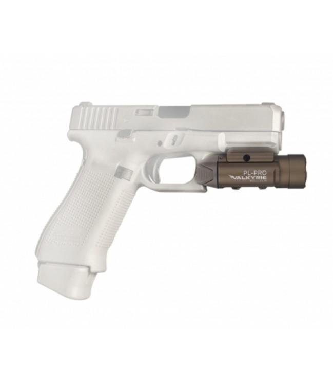 Olight PL-PRO Valkyrie žibintuvėlis ant pistoleto, desert tan