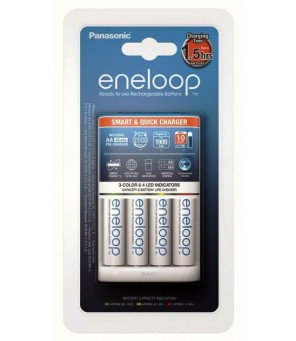 Panasonic Eneloop įkroviklis BQ-CC55 + 4vnt x R6/AA Eneloop 2000mAh BK-3MCCE baterijos