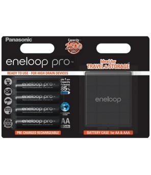 Panasonic Eneloop PRO 2550mAh AA akumuliatorius, 4 vnt. + dėžutė baterijoms