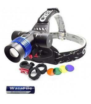 Žibintuvėlis ant galvos, dviračio laikiklis + 4 spalvoti filtrai